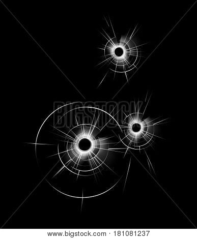 Vector Transparent Broken Glass Window with three Bullet Holes Close up Isolated on Dark Black Background