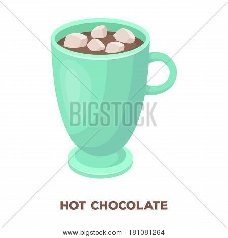 A cup of hot chocolate.Different types of coffee single icon in cartoon style vector symbol stock illustration .