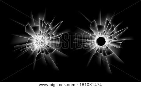 Vector Set of Transparent Crack Broken Glass Window with two Bullet Holes Close up Isolated on Dark Black Background