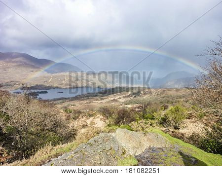 Rainbow above the famous Ladies View, Kerry, Ireland