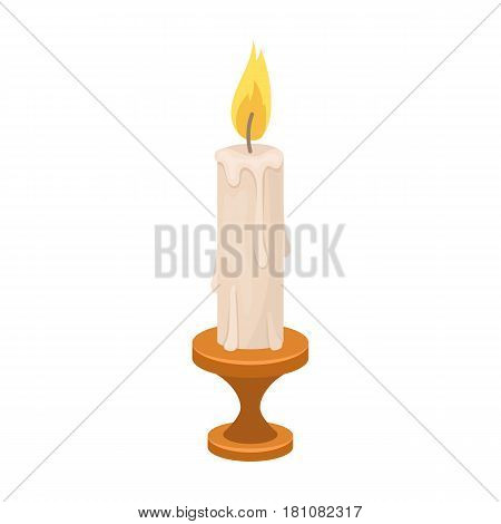 burning candle from paraffin wax. Easter single icon in cartoon style vector symbol stock web illustration.