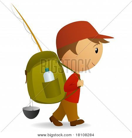 Cartoon Traveller Man With Big Backpack