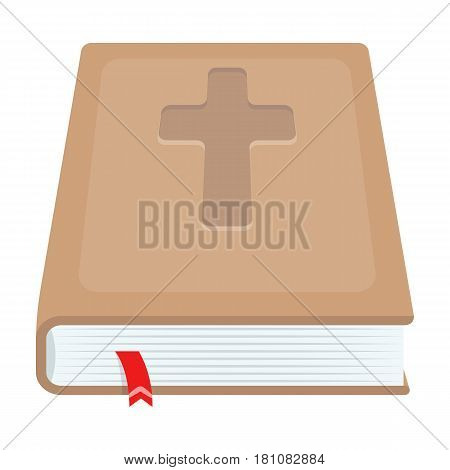 Book with a cross on the cover. The Bible. Easter single icon in cartoon style vector symbol stock web illustration.