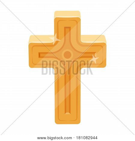 Golden cross. Easter single icon in cartoon style vector symbol stock web illustration.
