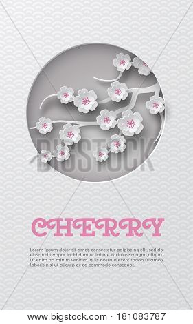 Oriental pattern vertical banner with cut round frame and floral background with white-pink cherry flowers decoration. Vector illustration, paper cut out art style. Caption cherry lorem ipsum. Layers are isolated