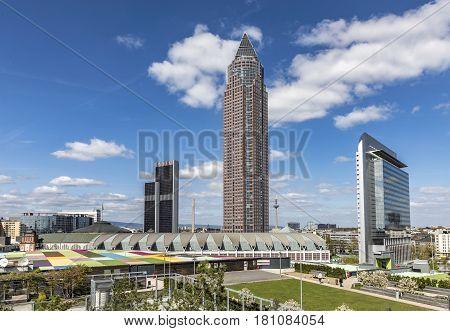 Messeturm And The Marriott Hotel Next To Frankfurt Trade Fair Ground