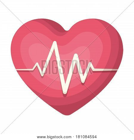 Red heart with pulse.The heart rate of the athlete .Gym And Workout single icon in cartoon style vector symbol stock web illustration.
