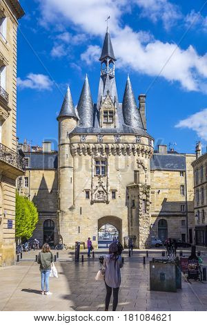 People Visit Historical Porte Cailhau In Bordeaux