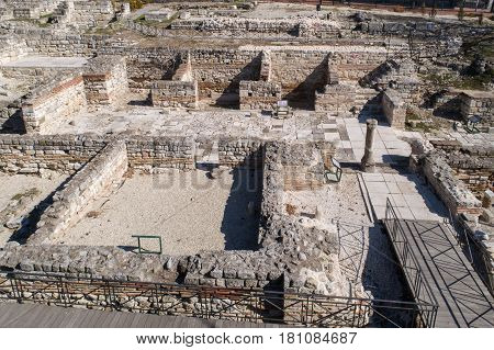 Roman ruins. The Old Roman Baths of Odessos Varna Bulgaria