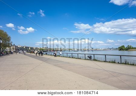 People Walking At The Promenade Of  The River Garonne