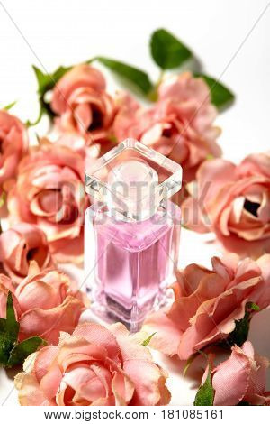 Perfume Bottle In Pink Flower Roses. Spring Background With Luxury Aroma Parfume. Beauty Cosmetic Sh