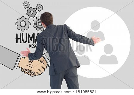 Digital composite of Digital composite image of HR representative with text and icons