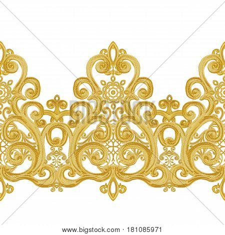 Seamless pattern. Golden textured curls. Oriental style arabesques. Brilliant lace stylized flowers. Openwork weaving delicate golden background.