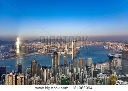 The International Finance Centre With City Skyline In Victoria, Hong Kong
