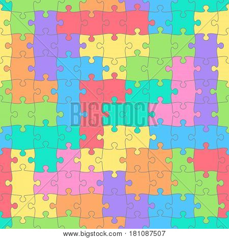 Puzzles seamless pattern with colored tetris shapes. Children's background. Vector illustration
