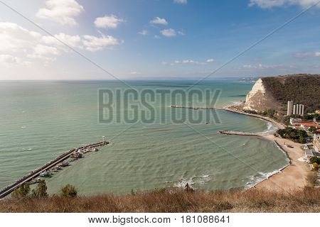 Amazing view of Kavarna the Black Sea coastal town and seaside resort in the Dobruja region of northeastern Bulgaria.