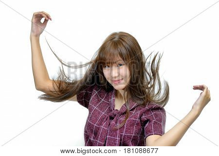 Attractive Young Fashion Model And Flicking Her Hair