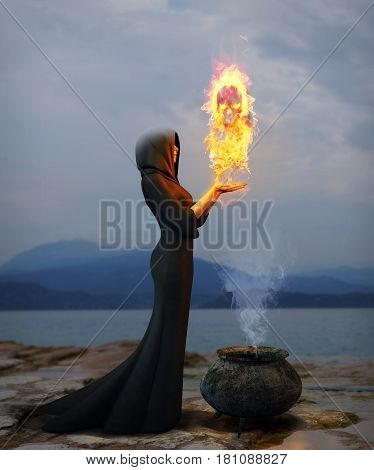 3D rendering of a young witch creating a magical skull out of flames.