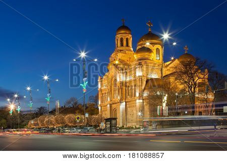VARNA BULGARIA 14.12.2015: The Cathedral of the Assumption. lluminated at night. - one of the landmarks of Varna Bulgaria.