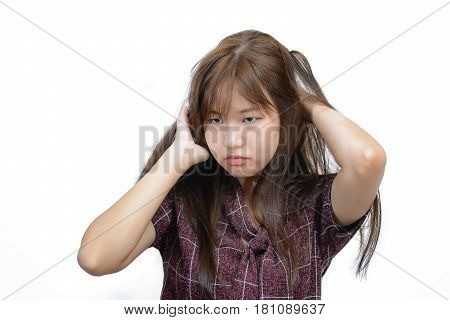 Asian Woman Scratching Itchy Head With Frustrate Face Expression, Female Having Hair Problems.