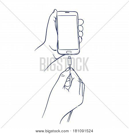 doodle hand drawn sketch connect the charger to smart mobile phone