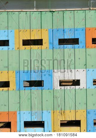 Abstract coloured beehives in spring time, cloae up