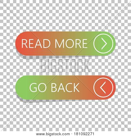 Read More And Go Back Button Set On Isolated Background