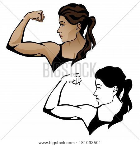 Strong fitness woman body builder vector graphic illustration, flexing arm muscle, head turned to right with a fearless look on her face. Includes both color and black line drawing versions.