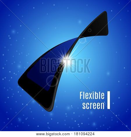 Gadget flexible screen with sun beams behind it. Mobile phone electronic visual display on abstract clear blue sky background. Vector illustration