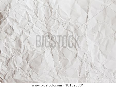crumpled white paper sheet texture background for design