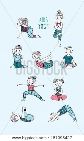 Kids yoga set. Children perform exercises, asanas, postures, meditation. Hand drawn vector illustration