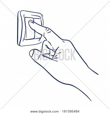 doodle hand drawn sketch turn the light switch on hand