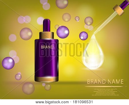 Collagen Premium Serum container template with dropper glossy bottle on the sparkling effects background. Mock-up 3D Realistic Vector illustration for design template