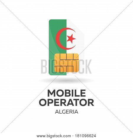 Algeria Mobile Operator. Sim Card With Flag. Vector Illustration.