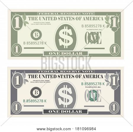 Money set, paper banknotes one dollar.  Vector illustration in simple, flat style in two variants. Isolated on white background. USA banking currency, cash symbol 1 dollar bill. Vertical location.