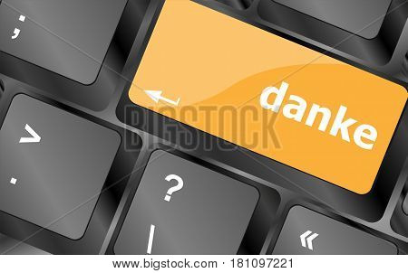 A Thank You (danke) Message On Enter Key Of Keyboard