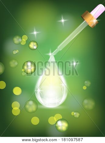 Dropper with Collagen serum drop on Sparkling shine green background. Vector Illustration