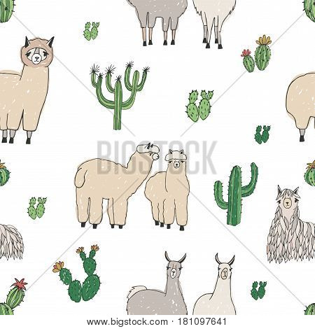 Hand drawn doodle seamless pattern with alpaca, llama, cactuses