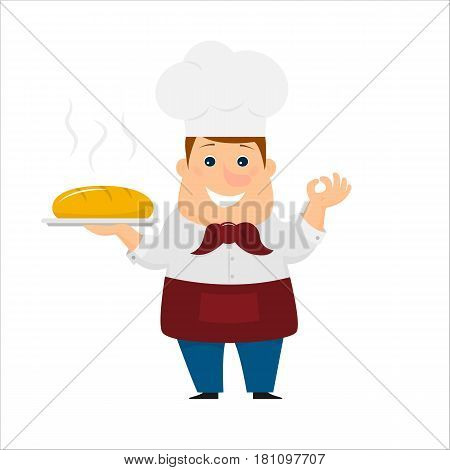 Baker with  bread in his hand. Isolated on white background. Flat style. Vector illustration