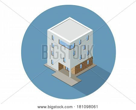 Vector isometric modern architecture building, element representing low poly town apartment or office building