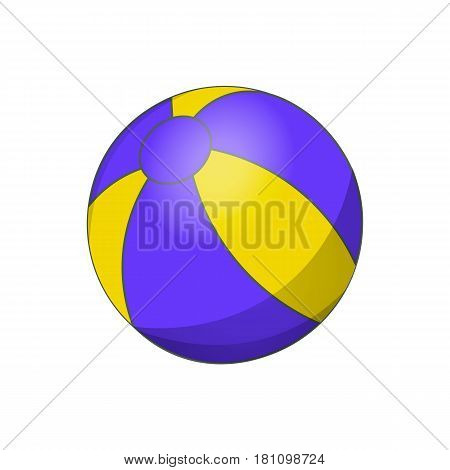 Colorful beach ball vector illustration. White yellow and blue beach ball isolated white background.