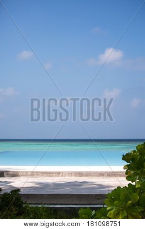 Tropical beach on the ocean coast. Maldives.