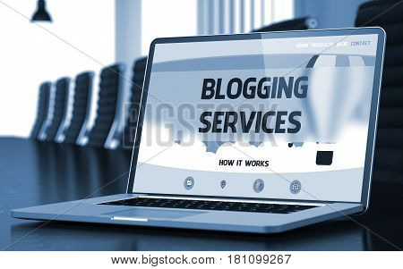 Blogging Services - Landing Page with Inscription on Mobile Computer Display on Background of Comfortable Conference Room in Modern Office. Closeup View. Toned Image. Blurred Background. 3D Rendering.