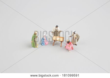 Christmas Crib. Adoration Of The Three Wise Men. Baby Jesus