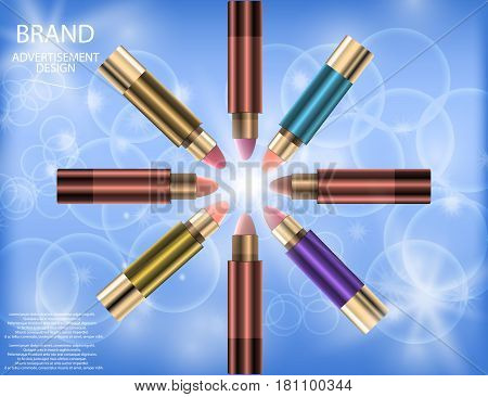 Glamorous Set of tubes with lip colour balm on the sparkling effects background. Mock-up 3D Realistic Vector illustration for design template