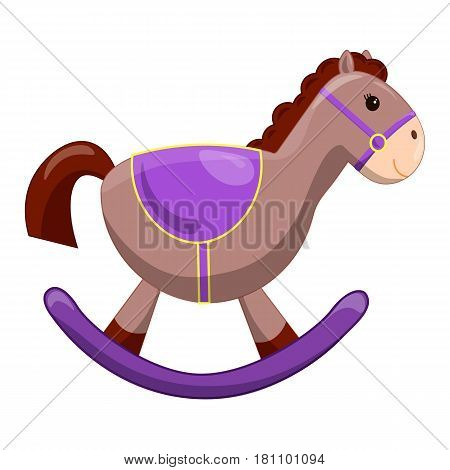Cute toy horse with wheels. Kids First Toys. Baby shower design element. Cartoon vector hand drawn illustration isolated on white background. vintage