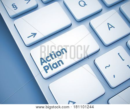 Online Service Concept: Action Plan on the Computer Keyboard Background. Service Concept: Action Plan on the Modern Computer Keyboard lying on the Toned Background. 3D Render.