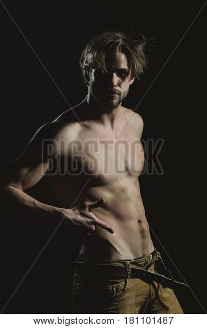 Handsome Man With Naked, Muscular Torso With Six Packs