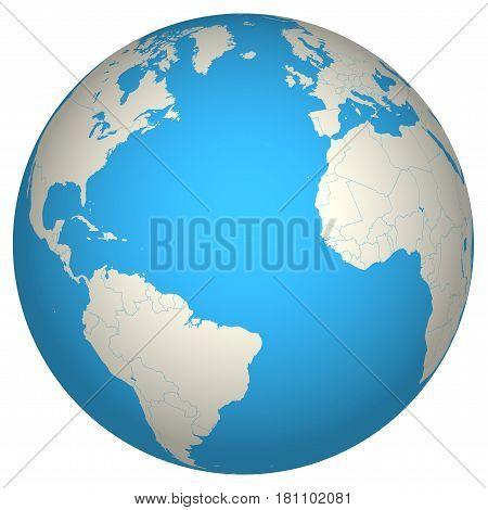 Globe 3D Europe America Africa world geography