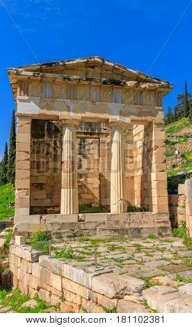 Delphi, Greece. Delphi is the famous as the ancient sanctuary that grew up as the seat of the oracle that was consulted on important decisions throughout the ancient classical world, Greece